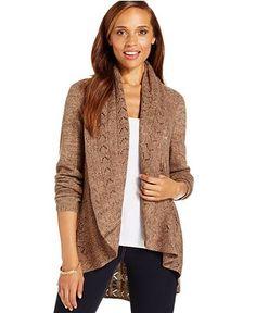 Karen Scott Pointelle-Trim Shawl Cardigan - Sweaters - Women - Macy's
