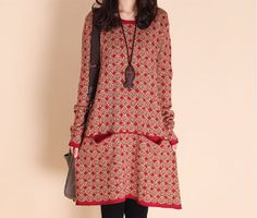 Fall Fashion Women Red Knit Sweater Dress Loose Fit  Tops Plus size Winter Long Sleeve Dress