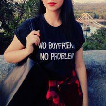 NIE CHŁOPAKA NIE MA PROBLEMU Druku punk Lato T Koszula Kobiety bluzki z Krótkim…