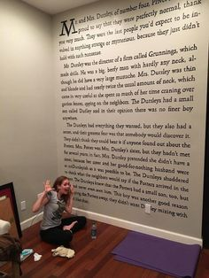 """This is an incredible idea! Not a Harry Potter fan myself, but would definitely do something from C. Lewis and The Chronicles of Narnia! This Woman Painted the Entire First Page of """"Harry Potter and the Sorcerer's Stone"""" on Her Wall Deco Harry Potter, Harry Potter Bedroom, Harry Potter Memes, Harry Potter Library, Harry Potter Tattoos, Harry Potter Proposal, Harry Potter Book Quotes, Harry Potter Houses, First Page"""