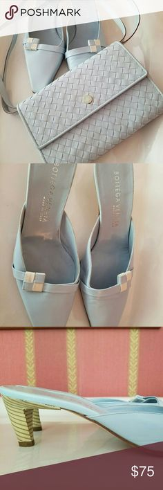 SALE:Bottega mules & matching bag These pale blue mules were only worn once and have a small matching bag. Both for one price.  Dreamy summer color. Bottega Veneta Shoes Mules & Clogs
