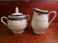 Noritake Ivory China Etienne Pattern Sugar and by ChicAvantGarde,