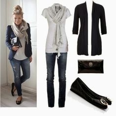 Adorable Style - White Blouse and Jeans, Black Jacket with Handbag, Tory Burch Shoes