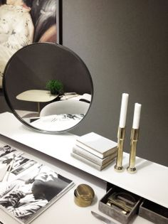Venere, wooden vanity desk  covered by painted glass and burnished metal structure. Rotating double face mirror. Designed by Carlo Colombo for Gallotti&Radice