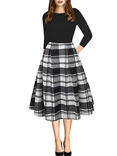 24f9a210271bb oxiuly Women's Vintage Patchwork Pockets Puffy Swing Casual Party Dress  OX165
