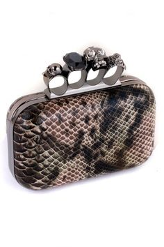 Snake Print Skull Knuckle Clutch  i like the idea but i would like it better it is was a sold/ metalic color or something