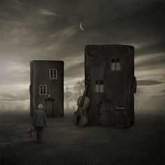 Surreal Photography by Dabrowa Górnicza, Poland based photographer Leszek Bujnowski. Leszek is fascinated by the possibility of interference in the world and create it using the technique of digital manipulation. Photomontage, Surrealism Photography, Art Photography, Conceptual Photography, Unique Buildings, Collaborative Art, Foto Art, Art For Art Sake, Art Graphique