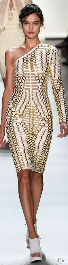 cool texture but my right arm would always be cold... Spring 2016 Ready-to-Wear Hervé Léger by Max Azria