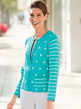 Shop Dots and Stripes Cardigan and other Womens Cardigan Sweaters and Womens Clothing in Misses, Petite, and Plus Sizes at Appleseed's. | Appleseeds