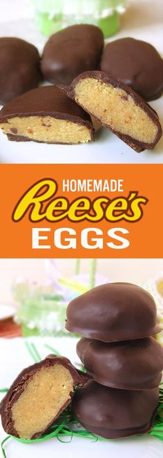 Peanut Butter stuffed Reese's eggs Copycat recipe (Ingredients Recipes Five) Just Desserts, Delicious Desserts, Dessert Recipes, Yummy Food, Delicious Chocolate, Copycat Recipes Desserts, Snacks Recipes, Healthy Recipes, Frosting Recipes