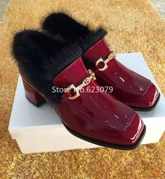 106.42$  Buy now - http://aliimt.worldwells.pw/go.php?t=32766071603 - women horsehair patent flats Women Loafers Slip On fur Winter Causal Shoes Woman Warm Sheep Fur Shoes With Fringe Size 34-39