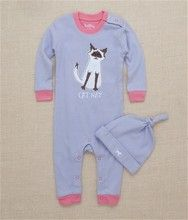 Hatley Cat Nap Infant Coverall with Knot Cap
