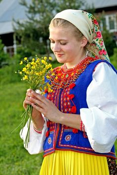 Lemko (Ruthenian) Poland - Traditional outfit for woman.