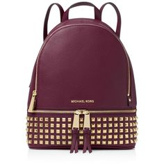 Michael Michael Kors Small Rhea Zip Studded Backpack ($380) ❤ liked on Polyvore featuring bags, backpacks, genuine leather tote, leather tote bags, purple leather tote, handbags totes and leather backpack