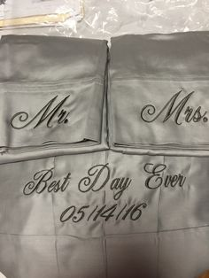 Emb on pillowcases and sheets
