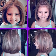 Little Girl Haircuts Little Girl Bob Haircut, Little Girl Short Haircuts, Bob Haircut For Girls, Toddler Haircuts, Cute Bob Haircuts, Bob Hairstyles For Thick, Little Girl Hairstyles, Toddler Bob Haircut, Childrens Hairstyles