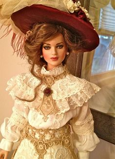 "Colette.  An early 19"" Tonner American Model, Repainted, Wigged and Costume by  Renee Fabrizio 