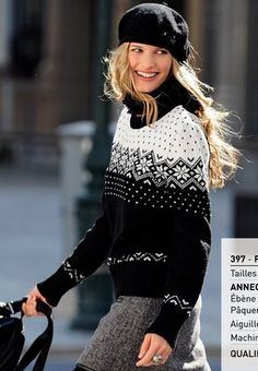 ~inspiration- black and white geometry~ 0010 Hand Knitted Sweaters, Sweater Knitting Patterns, Cool Sweaters, Hand Knitting, Pull Jacquard, Handgestrickte Pullover, Nordic Sweater, Icelandic Sweaters, Christmas Knitting