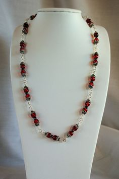 Antique Red Beaded Necklace Valentines Jewelry by KNjewelry, $35.00