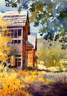 Richard Sneary WATERCOLOR .....narrow field of view with much depth, excellent.............surrounds you with atmosphere.............you can feel standing under the shade tree.........