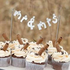 Rustic Mr. and Mrs. Banner Wedding Cake Topper  Cupcakes
