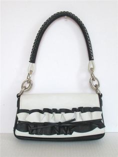 a55befe862 Escada Black White Leather Front Ruffle Small Chain Link Shoulder Bag Purse   ESCADA  ShoulderBag