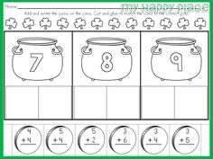 St. Patrick's Day Printables, addition, word families, cut and glue, kindergarten, first grade $