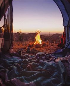 tent view of the campfire | camping + outdoors #adventure