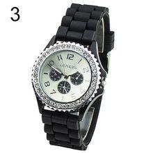 Populární Casual Pánské Dámské dívčí 3 Eyes Crystal drahokamy Rubber sportovní hodinky silikonové kapela Quartz NO181 5V1V (Čína (pevninská část))