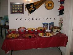 Our concession stands for the baseball baby shower - peanuts, Cracker Jacks, popcorn, nachos (with Rotel dip), soft pretzels, and fruit skewers