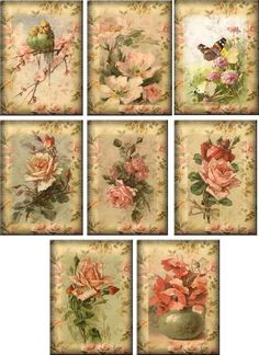 Vintage inspired Roses note cards tags ATC altered art set of 8 #HandMade #AnyOccasion