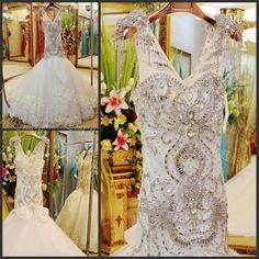 Discount Gorgeous Luxury Crystal Mermaid Wedding Dresses Backless Vintage Bridal Gowns 2015 V-Neck Shiny Beads Pleated Wedding Dress Court Train Online with $329.85/Piece | DHgate