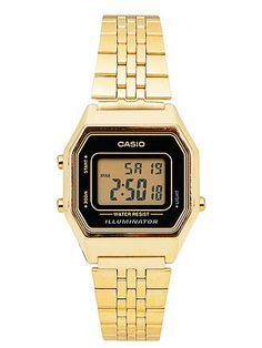 A petite stainless steel deadstock digital Casio watch featuring water resistant properties, 5 multi function alarms and black face.