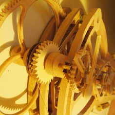 grandfather clock made entirely of wood. skeletal model so you can watch the wooden gears as they work! On Kickstarter. Woodworking Furniture Plans, Youtube Woodworking, Woodworking Equipment, Woodworking Projects That Sell, Woodworking Patterns, Woodworking As A Hobby, Woodworking Machinery, Woodworking Ideas, Wooden Clock Plans