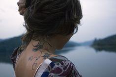 floral back/shoulder tattoo
