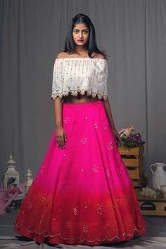 Pink and red shaded organza lehenga with half white off shoulder cape blouse!They can customize the dress as per your requirement.For more detail 21 March 2018 Cape Lehenga, Pink Lehenga, Bridal Lehenga Choli, Lehnga Dress, Anarkali, Indian Dresses, Indian Outfits, Off Shoulder Lehenga, Off Shoulder Blouse