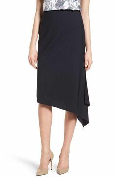 Classiques Entier Pinstripe Stretch Wool Skirt