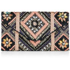 New Look Navy Floral Embellished Clutch found on Polyvore featuring bags, handbags, clutches, blue pattern, floral clutches, navy purse, blue clutches, print purse and flower print handbags
