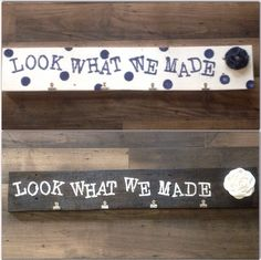 Look what we made display kids art work sign by Uniqueboutiquefromaz on Etsy https://www.etsy.com/listing/186879183/look-what-we-made-display-kids-art-work