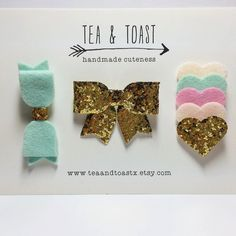 mint & pink hair bow clip set, gold glitter and layered hearts by teaandtoastx on Etsy https://www.etsy.com/listing/215138392/mint-pink-hair-bow-clip-set-gold-glitter