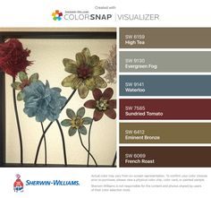 I found these colors with ColorSnap® Visualizer for iPhone by Sherwin-Williams: High Tea (SW Evergreen Fog (SW Waterloo (SW Sundried Tomato (SW Eminent Bronze (SW French Roast (SW Colorado House, Navy And Brown, Exterior House Colors, Paint Colors For Home, High Tea, House Painting, Color Combinations, Wedding Bouquets, Basement