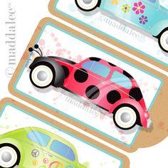 Art, DIY Free Printables, Kid Crafts, Party Decor, Notecards, Recipe Cards, DIY Journals, Felt Toys: DIY Adorable VW Bug Gift Tag, Bookmark,...
