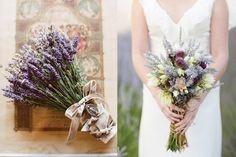 {lavender bouquet photo by Thayer Allyson Gowdy via Kiss the Groom; mixed lavender bouquet photo by KT Merry via Style Me Pretty}