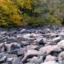 Rang some rocks with the kids - great fun -----  Ringing Rocks Park, Upper Black Eddy, PA.  A  about 7-8 acre field of boulders. When the rocks are struck with a hammer, they ring with a sound similar to a metal pipe being struck.