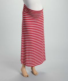 Anticipation Heather Gray & Red Stripe Under-Belly Maternity Maxi Skirt - Women by Anticipation #zulily #zulilyfinds