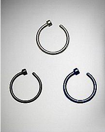 Black & Blue Hoop Nose Ring 3 Pack -18 Gauge