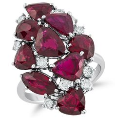 Cluster ring in 18k white gold with 9 cts. t.w. rubies and 0.47 ct. t.w. diamonds, $18,186; SES Creations