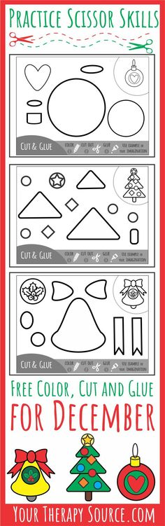 Color Cut Glue for December - Scissor Skills Practice - Your Therapy Source Preschool At Home, Preschool Christmas, Preschool Learning, Early Learning, Preschool Activities, Christmas Crafts, Teaching, Dementia Activities, Motor Activities