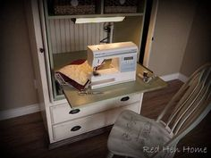 SewingArmoire 032 - transform a tv armoire into a sewing cabinet by the addition of a slider