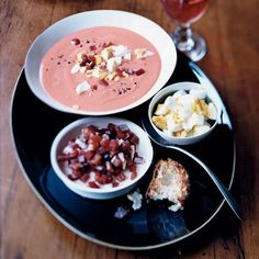 Tomato and Garlic Dip | The iconic Andalucian salmorejo is essentially a superthick gazpacho, made with plenty of ripe tomatoes, garlic and olive oil. Invariably, it's topped with chopped hard-boiled eggs and ham and served with fried eggplant or toasted country bread.